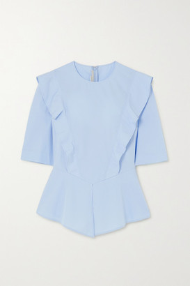 Stella McCartney Net Sustain Ruffled Cotton-poplin Peplum Blouse - Blue