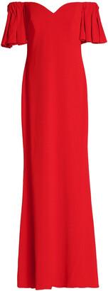 Badgley Mischka Off-the-shoulder Bow-embellished Crepe Gown
