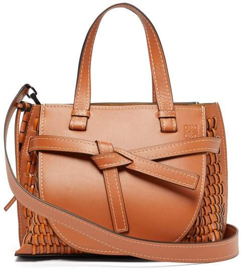 Loewe Gate Woven Leather Tote Bag - Womens - Tan