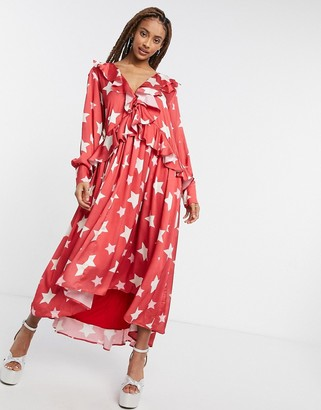 Sister Jane midi ruffle dress with full skirt in red star print