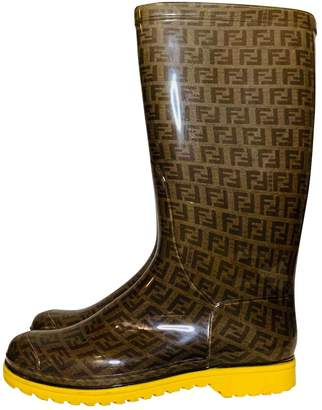 Fendi Brown Rubber Boots