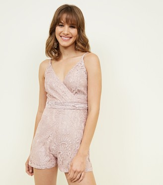 New Look Blue Vanilla Lace Wrap Front Playsuit