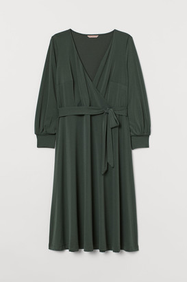 H&M H&M+ Creped Wrap-front Dress - Green