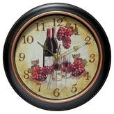 """Infinity Instruments Valencia Wine and Grape 12"""" Round Wall Clock Black/Beige"""