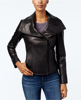 MICHAEL Michael Kors Leather Wing-Collar Jacket