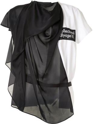 Sacai draped contrast panel T-shirt