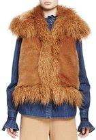 Stella McCartney Mixed Faux-Fur Vest, Camel