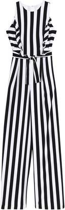 Mikael Aghal Ruffle-trimmed Striped Crepe Jumpsuit