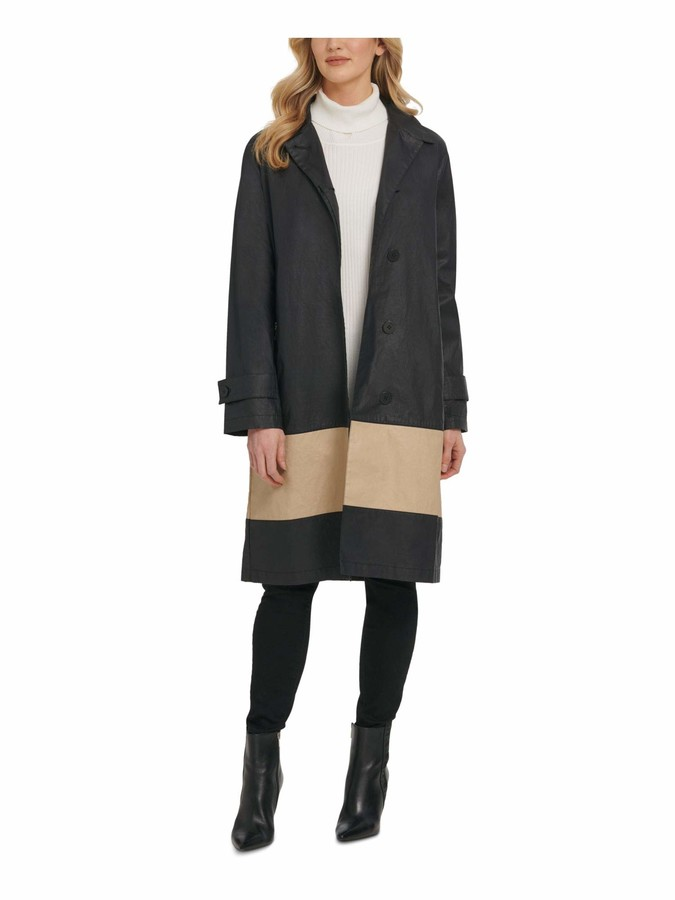 DKNY Womens Black Color Block Trench Jacket UK Size:4