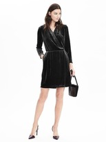 Banana Republic Long-Sleeve Velvet Wrap Dress