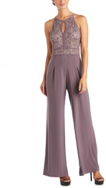 Night Way Nightway Lace Wide-Leg Jumpsuit