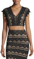 Nightcap Clothing Sierra Lace Crop Top, Black