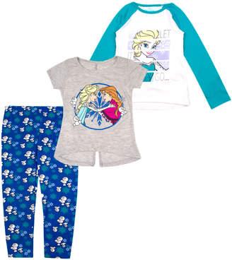 Children's Apparel Network Girls' Leggings - Frozen Teal & White 'Let It Go' Raglan Tee Set - Toddler