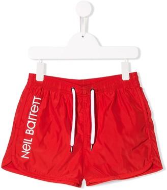 Neil Barrett Kids Side Logo Swim Shorts