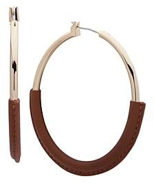 Ralph Lauren Ralph Large Leather-Wrapped Hoop Earrings