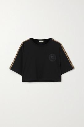Fendi Cropped Jacquard-trimmed Printed Cotton-jersey T-shirt - Black
