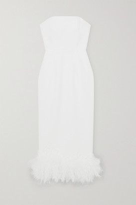 16Arlington Minelli Strapless Feather-trimmed Crepe Midi Dress - White