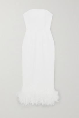 16Arlington Minelli Strapless Feather-trimmed Crepe Midi Dress