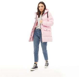 Brave Soul Womens Snow Stars Long Length Padded Jacket Dusky Pink/Black
