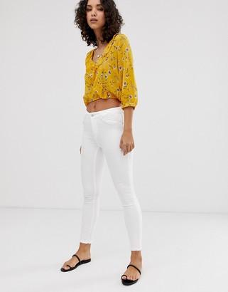 Only raw hem skinny jean in white