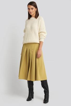 NA-KD Tailored Pleated Midi Skirt Beige