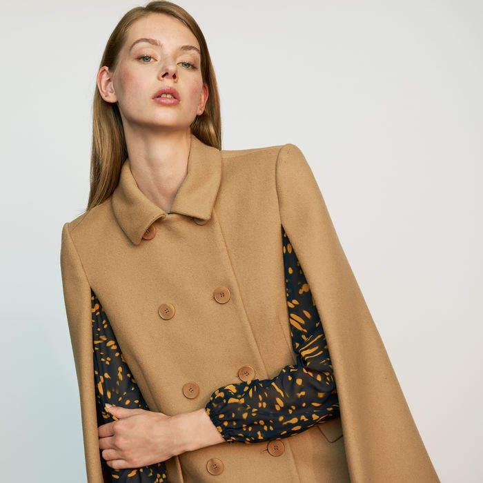 Maje Cape-coat in virgin wool