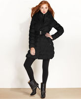Laundry by Shelli Segal Coat, Hooded Pillow-Collar Belted Puffer