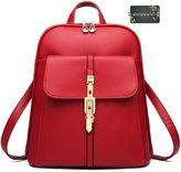 Donalworld Woen PU Leather School Backpack Capus Retro Shoulder Bag