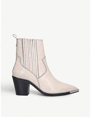 Kurt Geiger Tiami Western croc-embossed leather boots