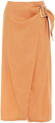 REJINA PYO Buckled Woven Midi Wrap Skirt