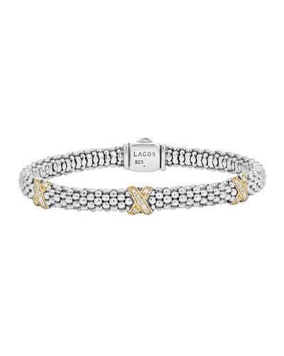 Lagos Silver Caviar Diamond X Bracelet with 18k Gold, 6mm