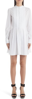 Alexander McQueen Pleated Long Sleeve Poplin Shirtdress