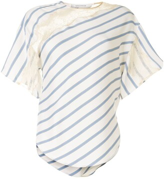 Cédric Charlier lace panelled striped T-shirt