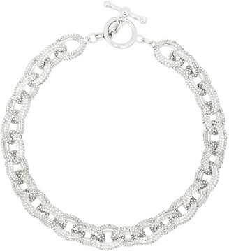 Kenneth Jay Lane Crystal-Embellished Oval-Chain Necklace