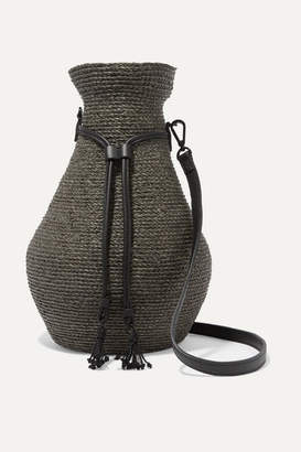 Helen Kaminski Albus Lumen Figura Leather-trimmed Raffia Shoulder Bag - Army green