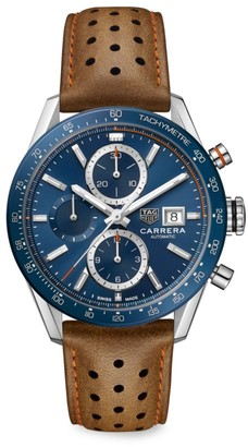 Tag Heuer Carrera 41MM Stainless Steel, Ceramic & Leather Strap Automatic Tachymeter Chronograph Watch