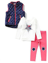 Flapdoodles Little Girls 2T-6X Star-Printed Quilted Vest, Long-Sleeve Graphic Tee & Leggings Set