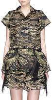 Sacai Camouflage embroidered organza drawstring dress