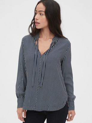 Gap Stripe Tie-Neck Blouse