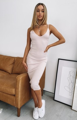 Beginning Boutique Monroe Bodycon Midi Dress Beige