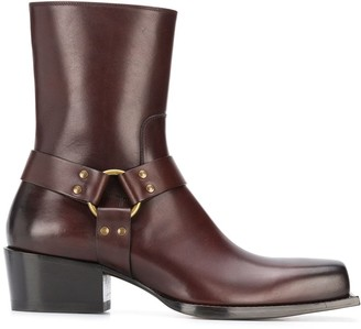 DSQUARED2 Square Toe Strap-Detail Ankle Boots