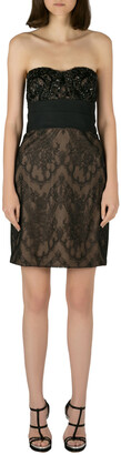 Marchesa Notte Black Sequin Embellished Lace Overlay Strapless Pencil Dress M
