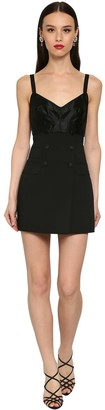Dolce & Gabbana Buttoned Stretch Wool Mini Dress