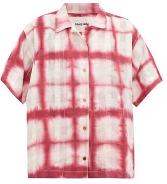 Story mfg. Bowling Moon Tie-dye Organic-cotton Shirt - Pink White