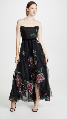 Marchesa Strapless Embroidered Organza Tea Length Gown