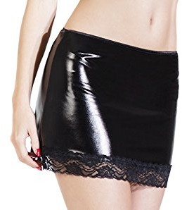 Coquette Women's Darque Wet Look Skirt with Lace Trim