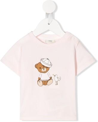 Fendi Kids sailor bear print T-shirt