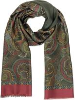 Forzieri Paisley Print Silk & Modal Reversible Men's Scarf