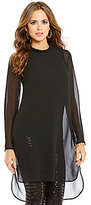 Gianni Bini Nikki Beaded Neck Long Sleeve Tunic
