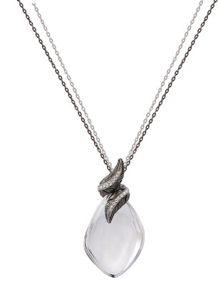 Michael Aram Feather Wrap Necklace w/ Crystal & Diamonds